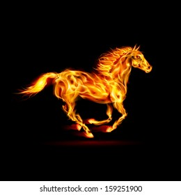 Illustration of running fire horse on black background.