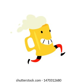 Illustration of a running mug of beer. Vector. Foamy drink. Icon for site on white background. Sign, logo for a store or brewery. Delivery of delicious beer.