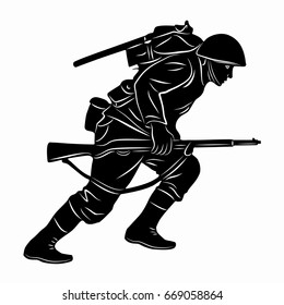 illustration of a running soldier, black and white drawing, white background