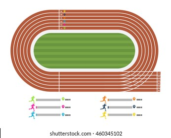 Illustration of running track with runner's statistics showing by different colors for Sports concept.