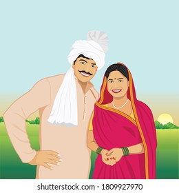 Illustration of Rural Indian couple in agricultural field