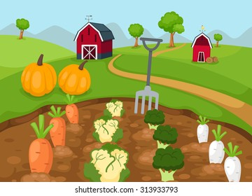 illustration of rural landscape vector