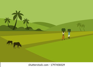 Illustration of rural people walking through paddy fields of South India