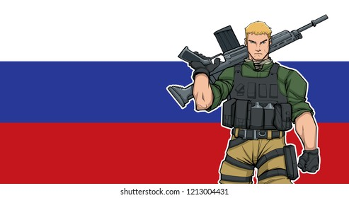 Illustration of Russian soldier with the flag of Russia in the background.