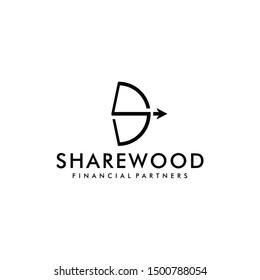 Illustration of S sign made Illustration archery sport sign logo design template