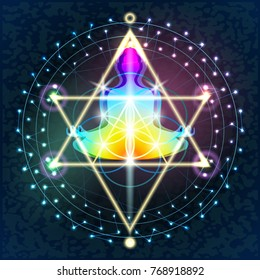 Illustration sacred sacral geometry. Buddha in a lotus position against the background of the smoldering FLOWER OF LIFE with other decorative geometric elements.