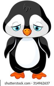 Illustration of sad baby penguin