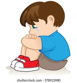 Illustration of a sad child, helpless, bullying. Ideal for catalogs, informational and institutional material