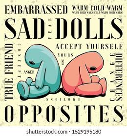 Illustration of sad dolls sitting back to back. Emotions, friendship, autism, acceptance concept.
