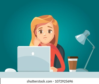 Illustration with sad girl with laptop