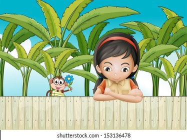Illustration of a sad girl leaning over the fence