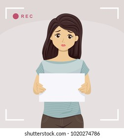 Illustration of a Sad Teen Girl Holding a Fansign Blank Board Being Recorded in a Video