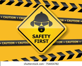 illustration of safety first with helmet, glass, ear muff and mask on yellow wall vector background