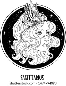 Illustration of Sagittarius astrological sign as a beautiful girl. Zodiac vector drawing isolated in black and white. Future telling, horoscope, alchemy, spirituality. Coloring book for adults.