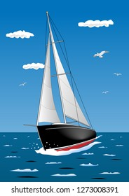 Illustration of a sailboat, which is sailing in the sea.