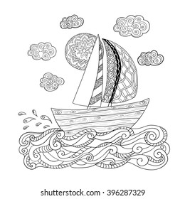 Illustration with sailing boat.