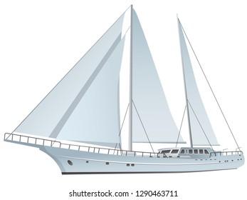 illustration of sailing luxury yacht on the white background