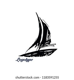 Illustration of a sailing yacht for a logo.