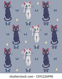 Illustration of a sailor  's cats on a blue background. Vector image