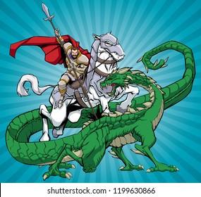 Illustration of Saint George slaying the dragon.