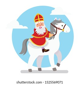 Illustration of Saint Nicholas riding his horse in white background