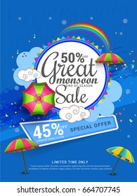 Illustration, sale banner, sale poster for Monsoon season raining drops,colorful umbrella with text space background.