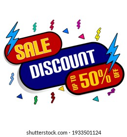 illustration sale discount up to 50% simple. Suitable for promotional banners, stickers, event posters