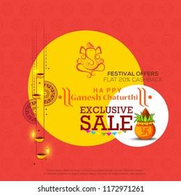 Illustration, Sale Poster Or Banner For Festival Of Ganesh Chaturthi.