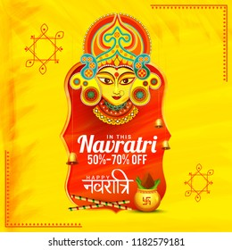 Illustration Of Sale Poster Or Sale Banner For Indian Festival Navratri Celebration,Big Navratri sale offer background.
