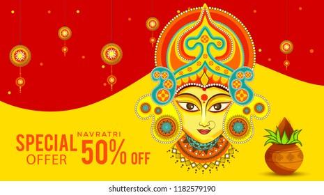 Illustration Of Sale Poster Or Sale Banner For Indian Festival Navratri Celebration,Big Navratri sale offer background.