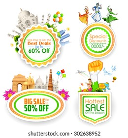 illustration of Sale promotion badge in India theme
