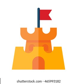 Illustration of a sand castle in flat style. Sand castle isolated on white background.