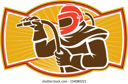 Illustration of a sandblaster worker holding sandblasting hose wearing helmet visor set inside oval shape done in retro style.