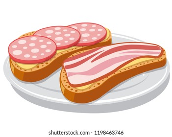 illustration of sandwich with bacon and sausages