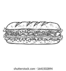 Illustration of sandwich. Design element for poster, card, banner, flyer. Vector illustration