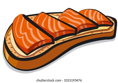 illustration of sandwich with salmon and butter
