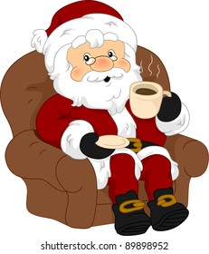 Illustration of Santa Claus Enjoying a Cup of Coffee