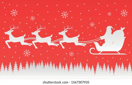 Illustration of Santa Claus is flying on a sled on a red background.