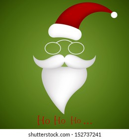 illustration of Santa Claus hat, glasses, mustache and beard singing ho ho ho wishing Merry Christmas