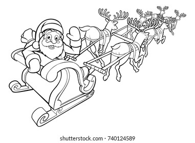An illustration of Santa Claus and his flying Christmas sleigh and reindeer