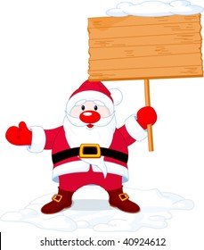 Illustration of  Santa Claus  holding a blank board sign