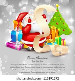 illustration of Santa Claus reading wish list for Christmas
