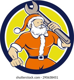 Illustration of santa claus saint nicholas father christmas mechanic carrying spanner wrench looking to the side set inside circle on isolated background done in cartoon style.