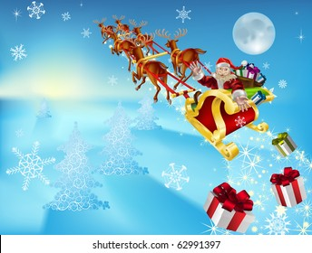 an illustration of santa in his xmas sled or sleigh, delivering his christmas gifts to everyone