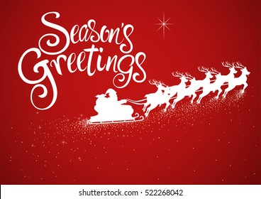 Illustration of Santa on sleigh and his reindeer flying with seasons greetings text