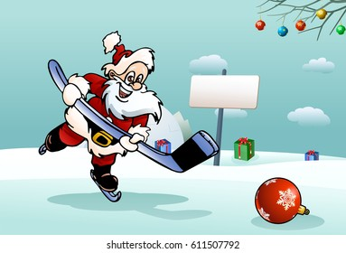 illustration of a santa play hockey on ice field background