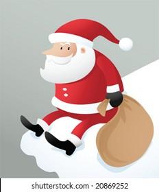 Illustration santa sitting on the ice roof