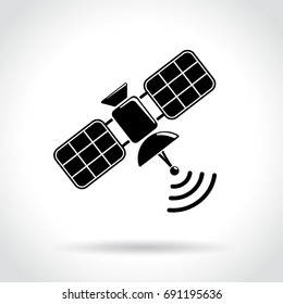 Illustration of satellite icon on white background