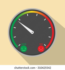 illustration of a satisfaction meter with smilies, vector