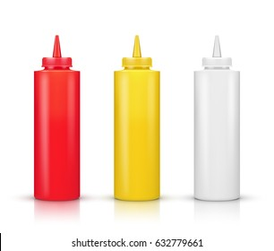 illustration of sauce bottles on a white background